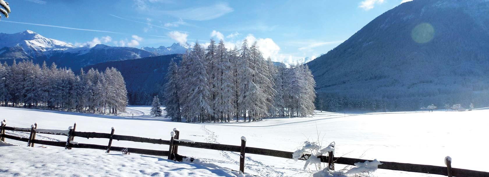 Winterimpression mit Blick von Weisland nach Arzkasten in Obsteig